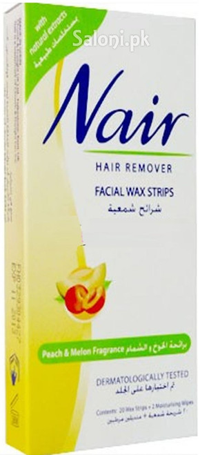 Nair Hair Remover Facial Wax Strips with Peach & Melon Fragrance 20 Strips