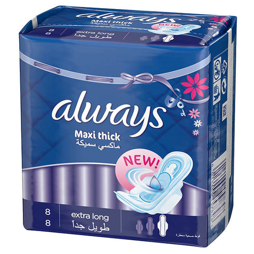 Always Pads Maxi Thick Extra Long 8 original product