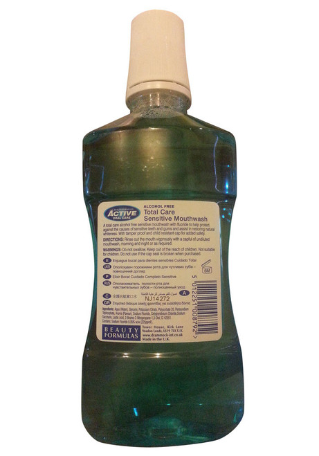 Active Oral Care Total Care Sensitive Alcohol Free Mouthwash Back