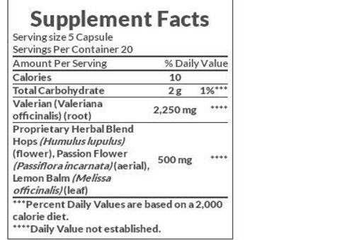 Nature's Bounty Valerian Root 450mg Supplement Facts