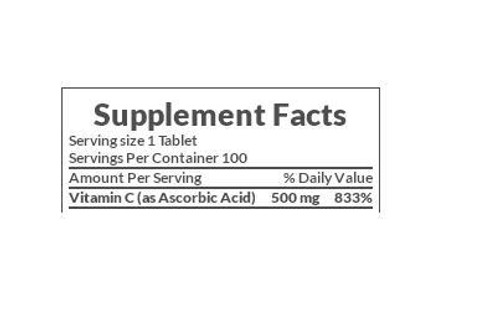 Nature's Bounty Vitamin C 500mg Supplement Facts