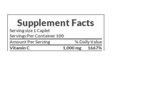 Nature's Bounty Pure Vitamin C 1000mg Supplement Facts
