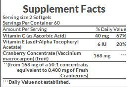 Nature's Bounty Cranberry 4,200 mg Supplement Facts