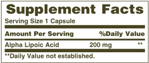 Nature's Bounty Alpha Lipoic Acid 200mg Supplement Facts