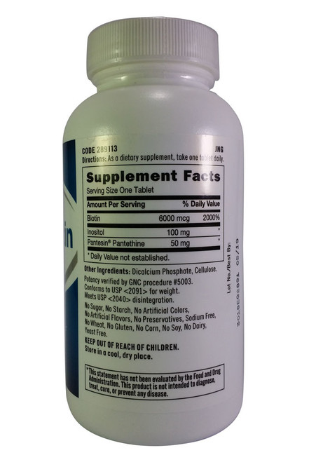 GNC Super Biotin 6000 mcg Supplement Facts