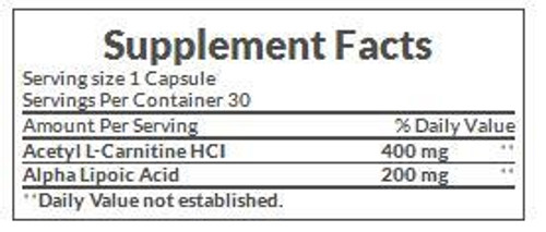 Nature's Bounty Acetyl L-Carnitine HCl 400mg Supplement Facts