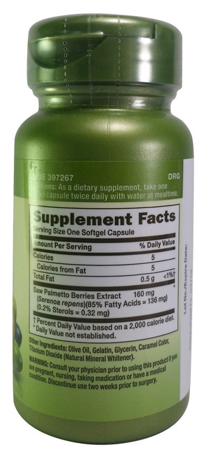 GNC Herbal Plus Saw Palmetto Extract 160 mg Supplement Facts