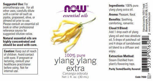 GNC Now® 100% Pure Ylang Ylang Extra Oil Label