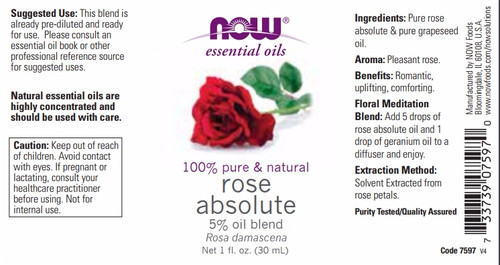GNC NOW® Rose Absolute Oil 30 ML Label