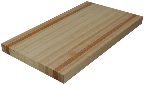 Maple Edge Grain Butcher Block Countertop with 2 Cherry Strips