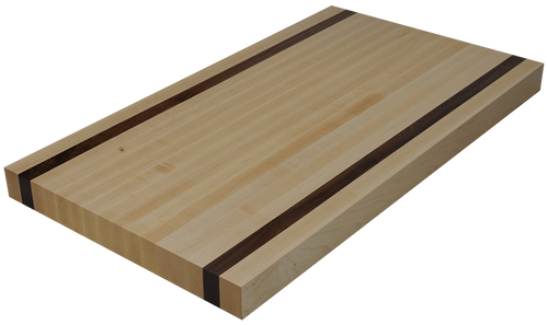 Maple Edge Grain Butcher Block Countertop with 2 Walnut Strips