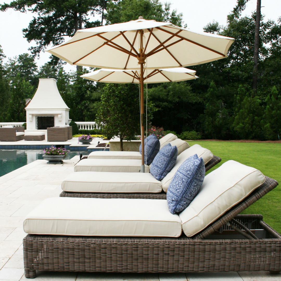 For The Pool Deck, Sag Harbor Chaise Lounges In A Driftwood Finish Provide  Luxurious Comfort While Sunbathing. Kingsley Bate Teak Umbrellas Between  The ...
