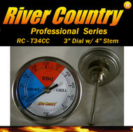 "3"" River Country Adjustable BBQ, Grill, Smoker & Pit Thermometer (RC-T34) (1/2 npt-4"" Stem)"