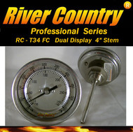 "3"" River Country Dual Range F/C BBQ, Grill, Smoker & Pit Thermometer (RC-T34FC) (4"" Stem)"
