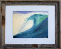 8 x 10 inch surf art print by Tamara Kapan titled Blue wave in an 11 x 14 inch rustic wood frame