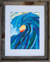 8 x 10 inch wave art print titled Braided Barrel by Tamara Kapan in an 11 x 14 inch barn wood frame