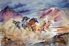 Western Watercolor Painting by Dotty Reiman titled Canyon Crossing