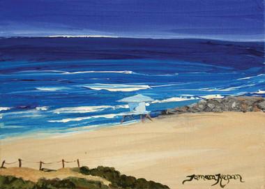 Original Carlsbad Beach Painting of the Jetty and Lifeguard Tower at South Ponto Beach by Tamara Kapan