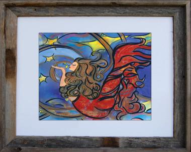 8 x 10 inch mermaid art print titled Creating Inspiration by Tamara Kapan in an 11 x 14 inch barn wood frame