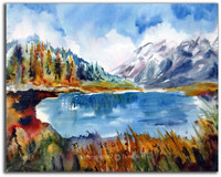 Oregon Lake Watercolor by Dotty Reiman titled Crystal Cove