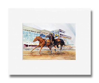 5 x 7 inch horse racing print titled Day At the Races by Dotty Reiman matted to fit an 8 x 10 inch frame