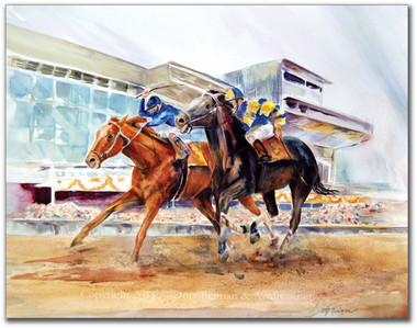 Original Horse Racing Watercolor Painting by Dotty Reiman titled Day At The Races