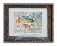 Mermaid decor with 8 x 10 mermaid print titled Day Dreamer by Dotty Reiman in an 11 x 14 inch barn wood frame