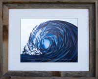 8 x 10 inch wave print titled Fractured by Tamara Kapan in an 11 x 14 barn wood frame