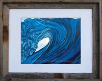 8 x 10 inch blue wave print titled Frolic by Tamara Kapan in an 11 x 14 inch barn wood frame