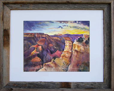 Grand Canyon watercolor print by Dotty Reiman shown matted in an 11 x 14 inch  rustic barn wood frame.