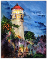 Original Watercolor Lighthouse Painting by Dotty Reiman