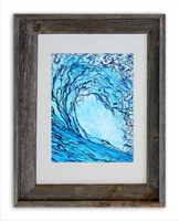 8 x 10 inch abstract wave print titled Liquid Courage by Tamara Kapan in an 11 x 14 barn wood frame