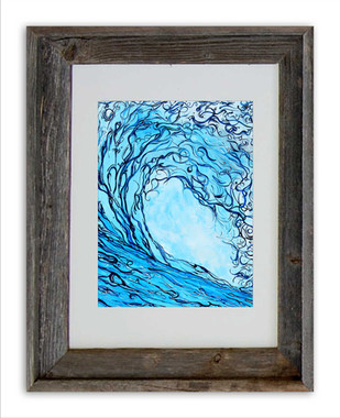 8 x 10 inch abstract wave print titled Liquid Courage by Tamara Kapan in an 11 x 14 barn wood frame