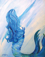 Original Mermaid Painting by Tamara Kapan titled Looking Back