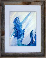 11 x 14 fine art Mermaid Print titled Looking Back by Tamara Kapan in an 11 x 14 inch barn wood frame
