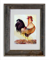 8 x 10 inch watercolor rooster print by Dotty Reiman titled Lucky Rooster in a 11 x 14 inch weathered grey wood frame