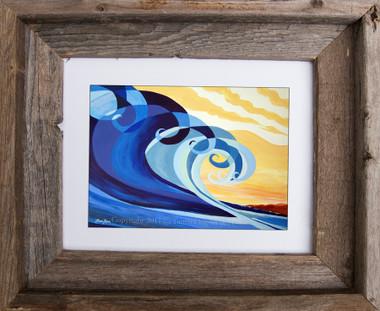 5 x 7 wave art print titled Mavericks by Tamara Kapan in a 8 x 10 inch barn wood frame