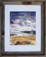 Moonlight Beach fine art print by Dotty Reiman.  Shown here in an 11 x 14 rustic barn wood frame.
