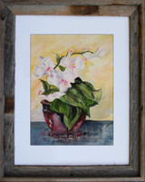 Morning Flower by Dotty Reiman.  Fine art print here is shown in an 11 x 14 inch barn wood frame.