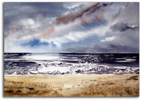 Moonlight Sonata watercolor beach painting by Dotty Reiman.