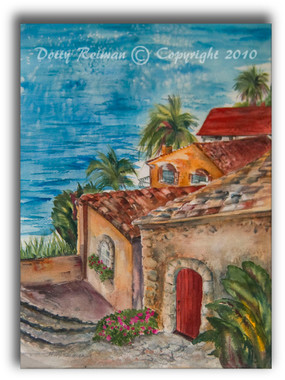 Old Village View watercolor by Dotty Reiman