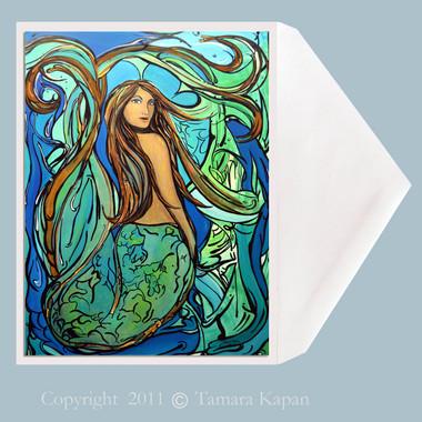 Mermaid Greeting Card by Tamara Kapan titled Pangaea.  Greeting card measures 5 x 7 inches.