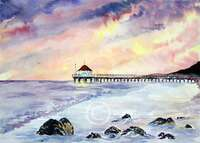 The Pier Original Watercolor Art by Dotty Reiman