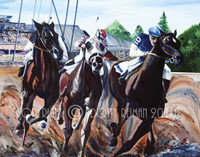Race Day Circa 1937 - SOLD - Original Acrylic Painting by Dotty Reiman