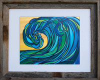 8 x 10 inch Wave Art titled Rogue Wave by Tamara Kapan in an 11 x 14 inch barn wood frame