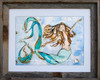 12 x 16 inch mermaid art print titled Sweet Dreams by Tamara Kapan in a 16 x 20 inch barn wood frame