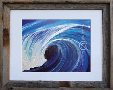 "8 x 10 inch Wave Art Print titled ""Teahupo'o"" by Tamara Kapan in an 11 x 14 inch barn wood frame"