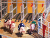 "Pigs racing at the county fair.  Original acrylic painting on canvas titled ""This Little Piggy"" by Tamara Kapan."