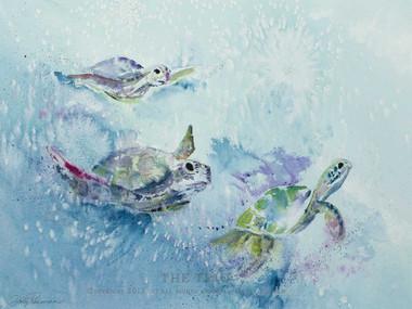 "Original Sea Turtle Watercolor titled ""The Trio"" by Dotty Reiman"