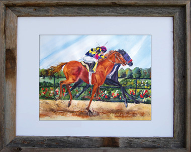 "8 x 10 horse racing print by Dotty Reiman titled ""By A Nose"" in an 11 x 14 barn wood frame"